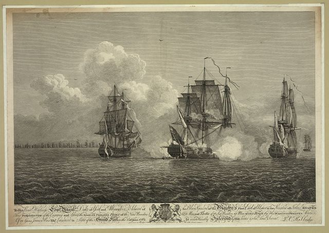 This perspective view of the engaging and taking the Spanish frigates Phenix of 22 nine pounders...