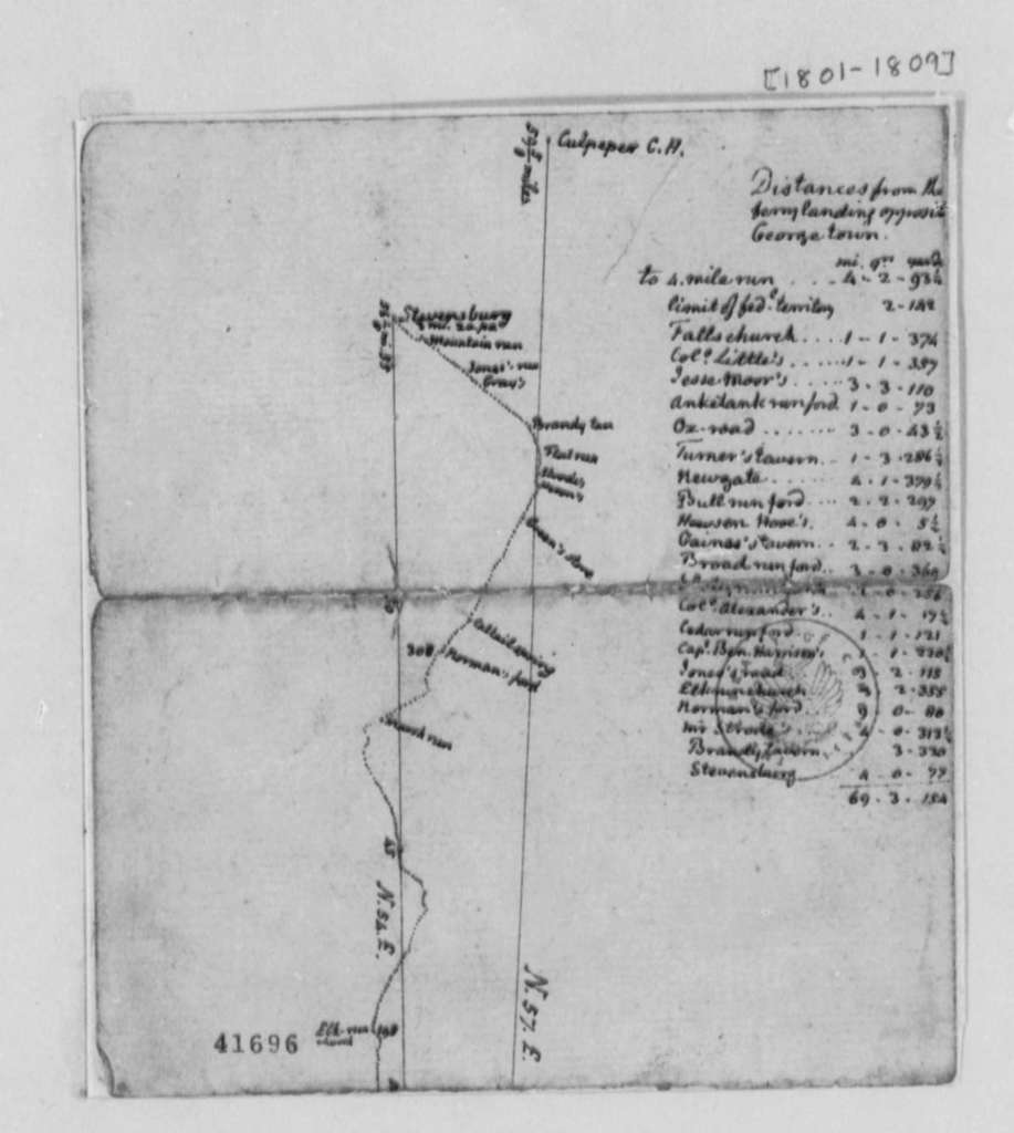 Thomas Jefferson, , Itinerary and Map of Trip from Washington, D. C. to Stevensburg
