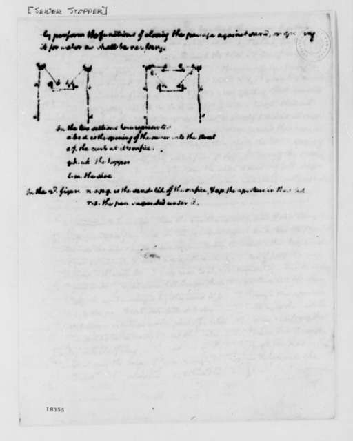 Thomas Jefferson, no date, Drawing and Description of Sewer Stopper