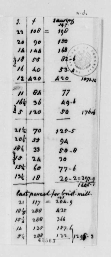 Thomas Jefferson, no date, Estimates on Grist Mill Timbers