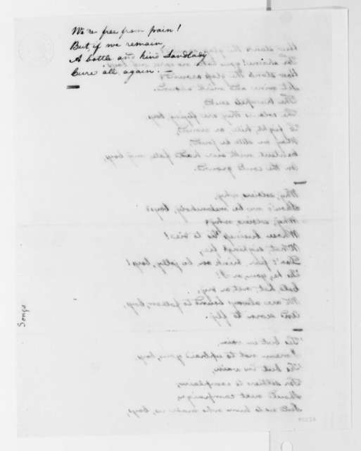 Thomas Jefferson, no date, General Wolfe's Song, Spelled Woolf on Document