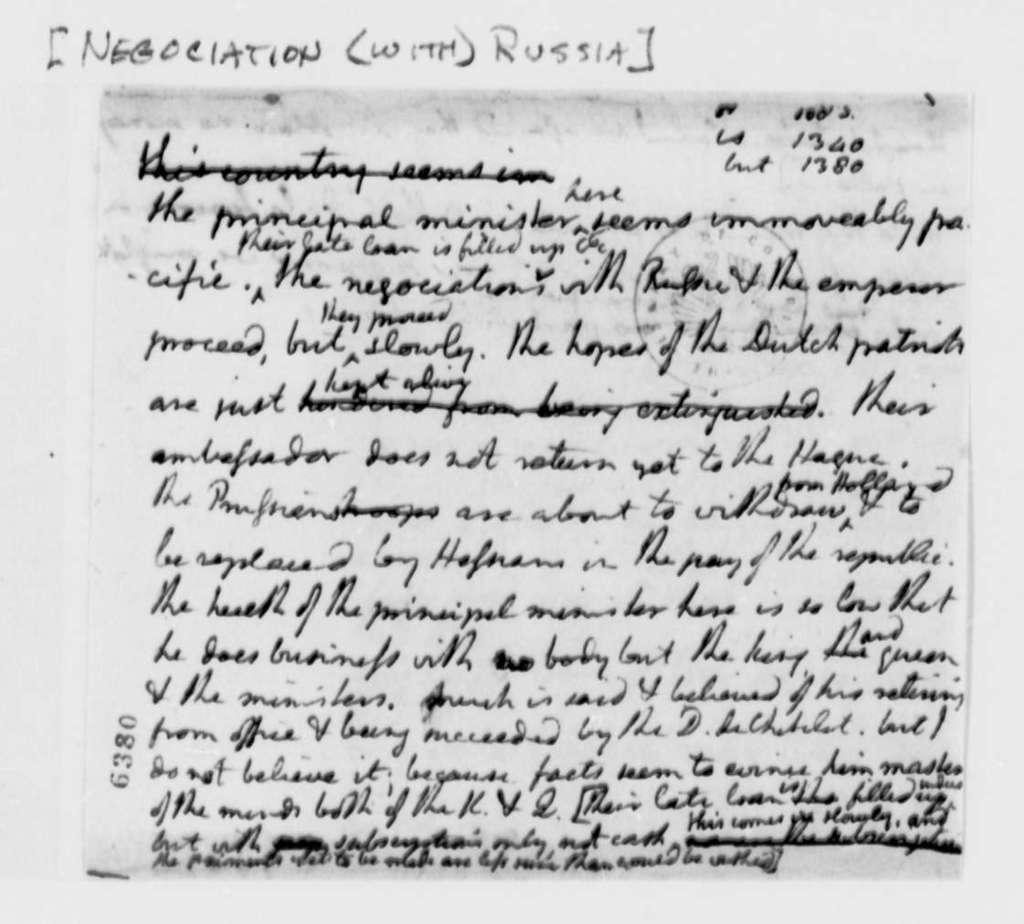 Thomas Jefferson, no date, Note Fragment on Negotiation with Russia
