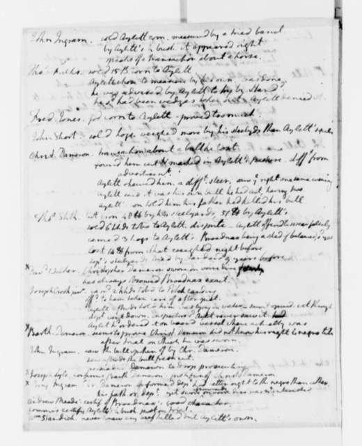 Thomas Jefferson, no date, Notes of Testimony on Aylett's Mill