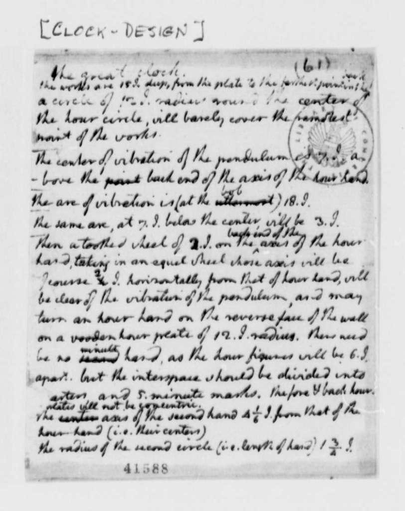 Thomas Jefferson, no date, Notes on Clock Design