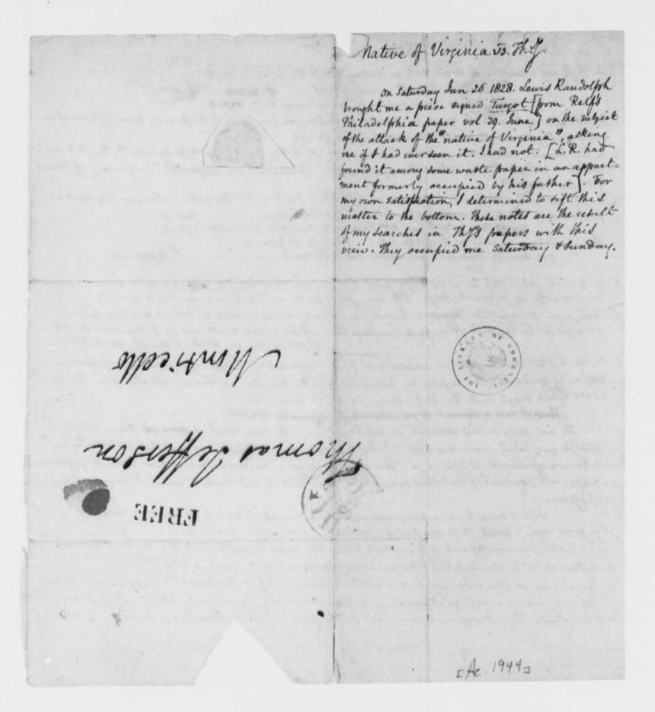 Thomas Jefferson, no date, Notes on Financial Accounts