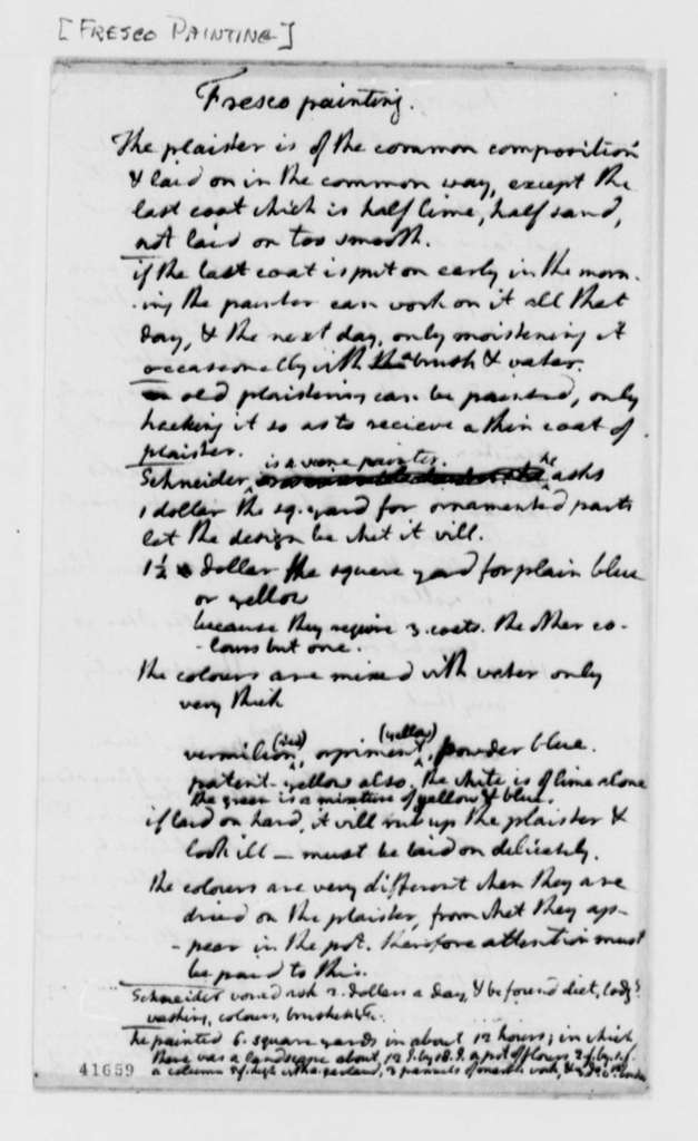 Thomas Jefferson, no date, Notes on Fresco Painting