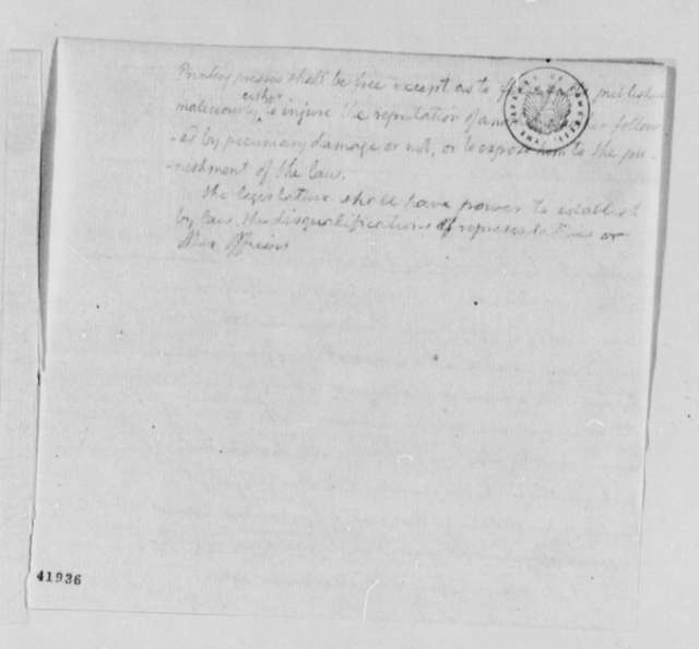 Thomas Jefferson, no date, Notes on Virginia Constitution