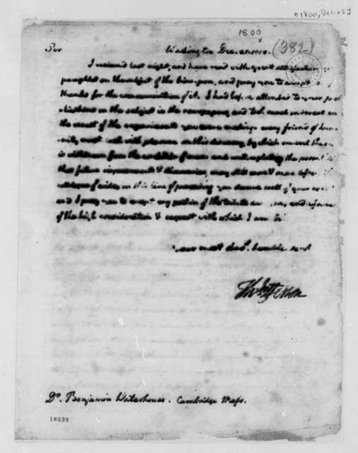 Thomas Jefferson to Benjamin Waterhouse, December 25,