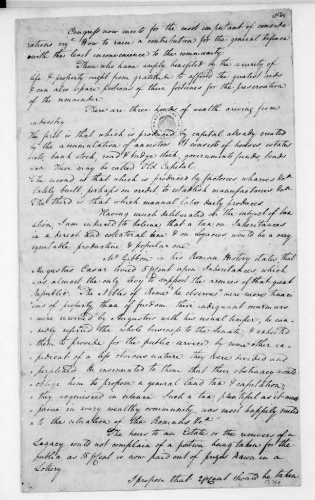 Thomas Law to James Madison. Proposals for tax revenue.