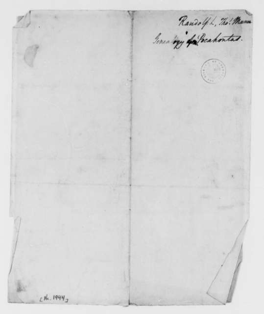 Thomas Mann Randolph, Jr., no date, Notes on the Genealogy of Pocahontas