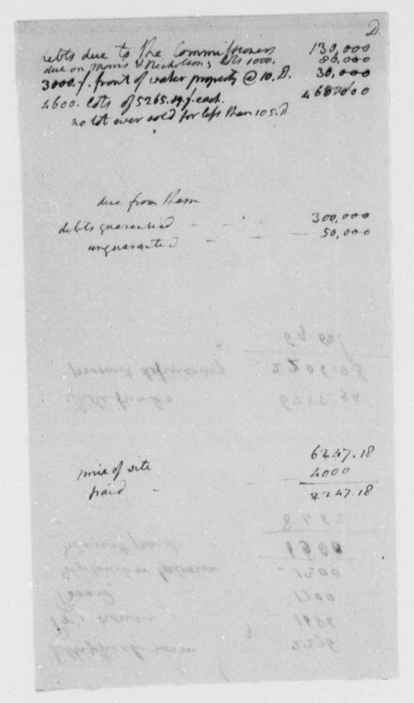Thomas Munroe, Superintendent of the City to Thomas Jefferson, no date, Accounts
