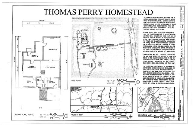Thomas Perry Homestead, East side of Mormon Row Road, approximately .6 miles south of Antelope Flats Road, bounded on the north by Ditch Creek, Kelly, Teton County, WY