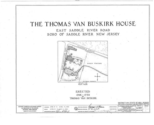 Thomas Van Buskirk House, East Saddle River Road, Saddle River, Bergen County, NJ