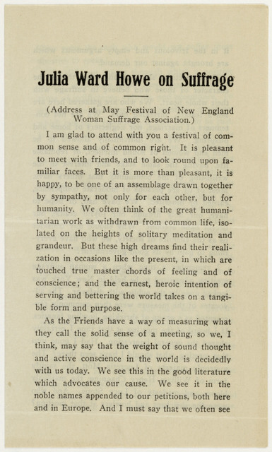 """Thoughts of an Old Woman and of a Very Young One; """"Julia Ward Howe on Suffrage"""" and """"Men, Women and Human Beings"""" by Elizabeth Ellsworth  Cook"""