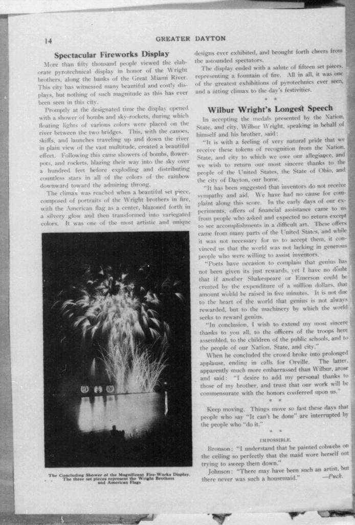 Thrilling Parade of Fire Department Witnessed by Thousands; and Wilbur Wright's Longest Speech [Greater Dayton]