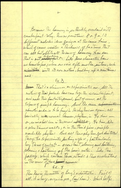 Thursday Evening Previews Scripts: After Berg Prelude [pencil on yellow legal pad paper]