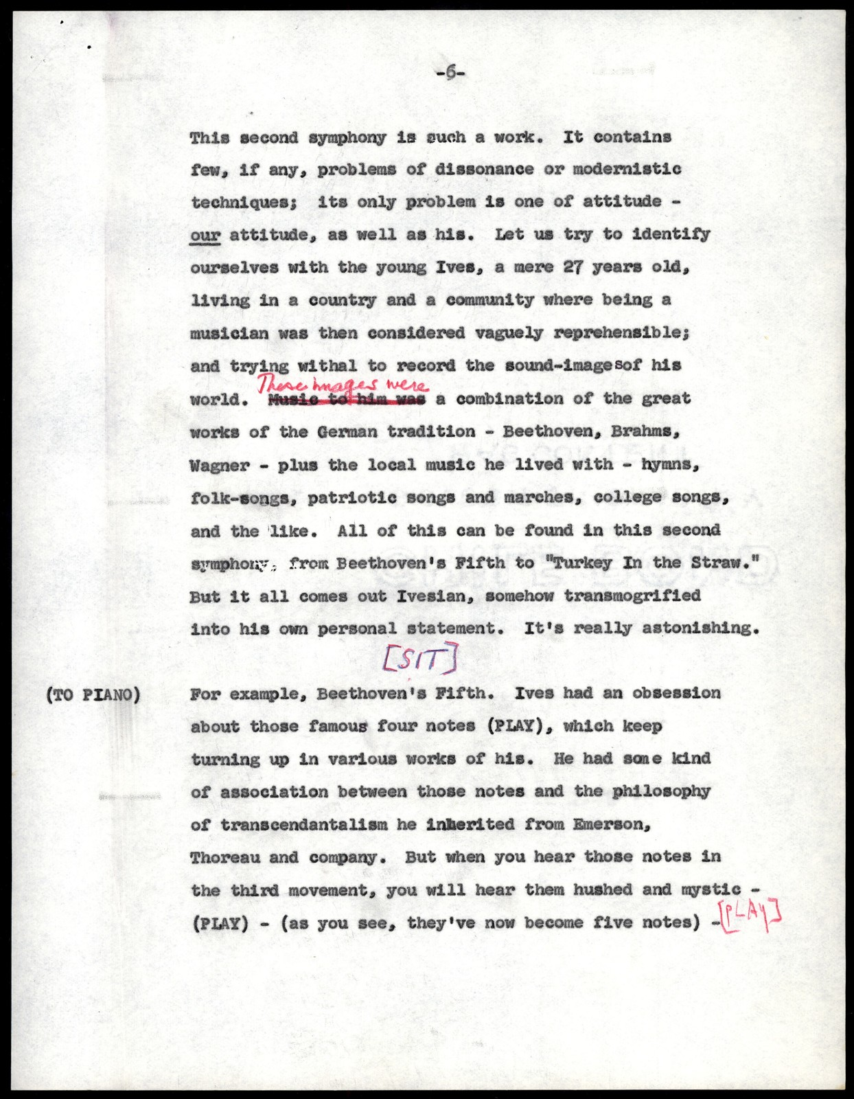 Thursday Evening Previews Scripts: Opening of the New York Philharmonic Season of 1958-1959 [typescript with emendations in red, blue & black pencil; marked Afinal]