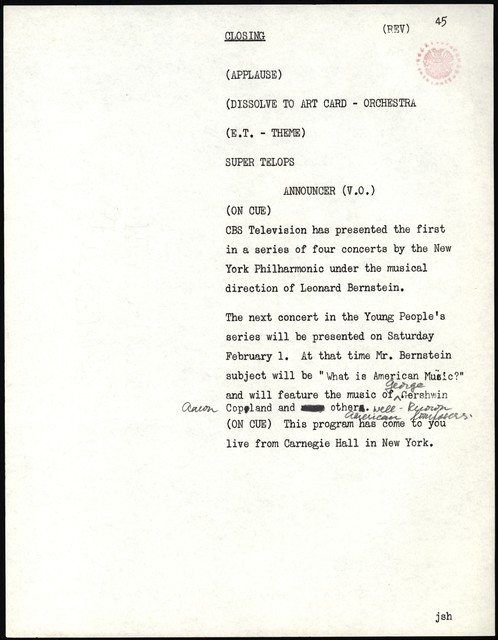 Thursday Evening Previews Scripts: Opening of the New York Philharmonic Season of 1958-1959 [musical examples in pencil]