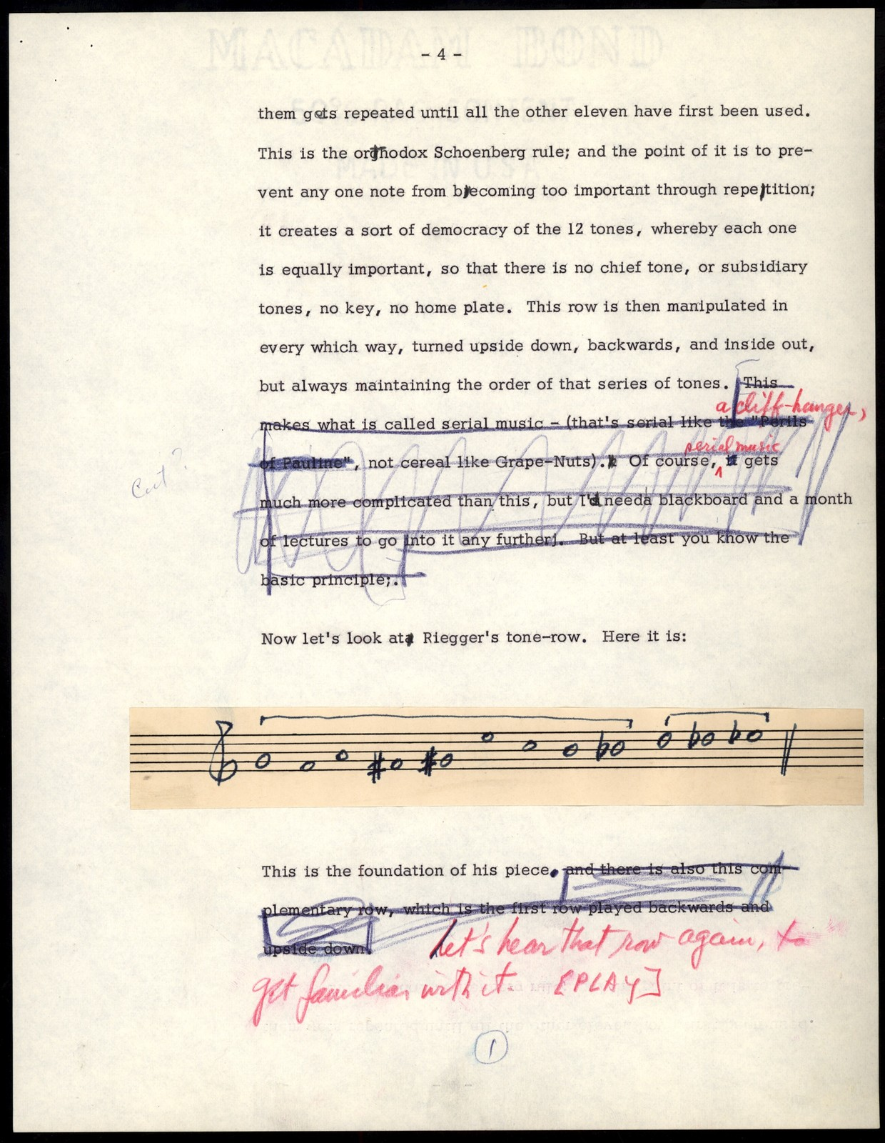 Thursday Evening Previews Scripts: Three Pioneers [typescripts with pasteovers of musical examples in ink, & emendations in red, blue & black pencil]