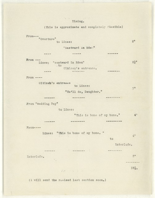 Timing [script for Appalachian spring, 29 May 1943]