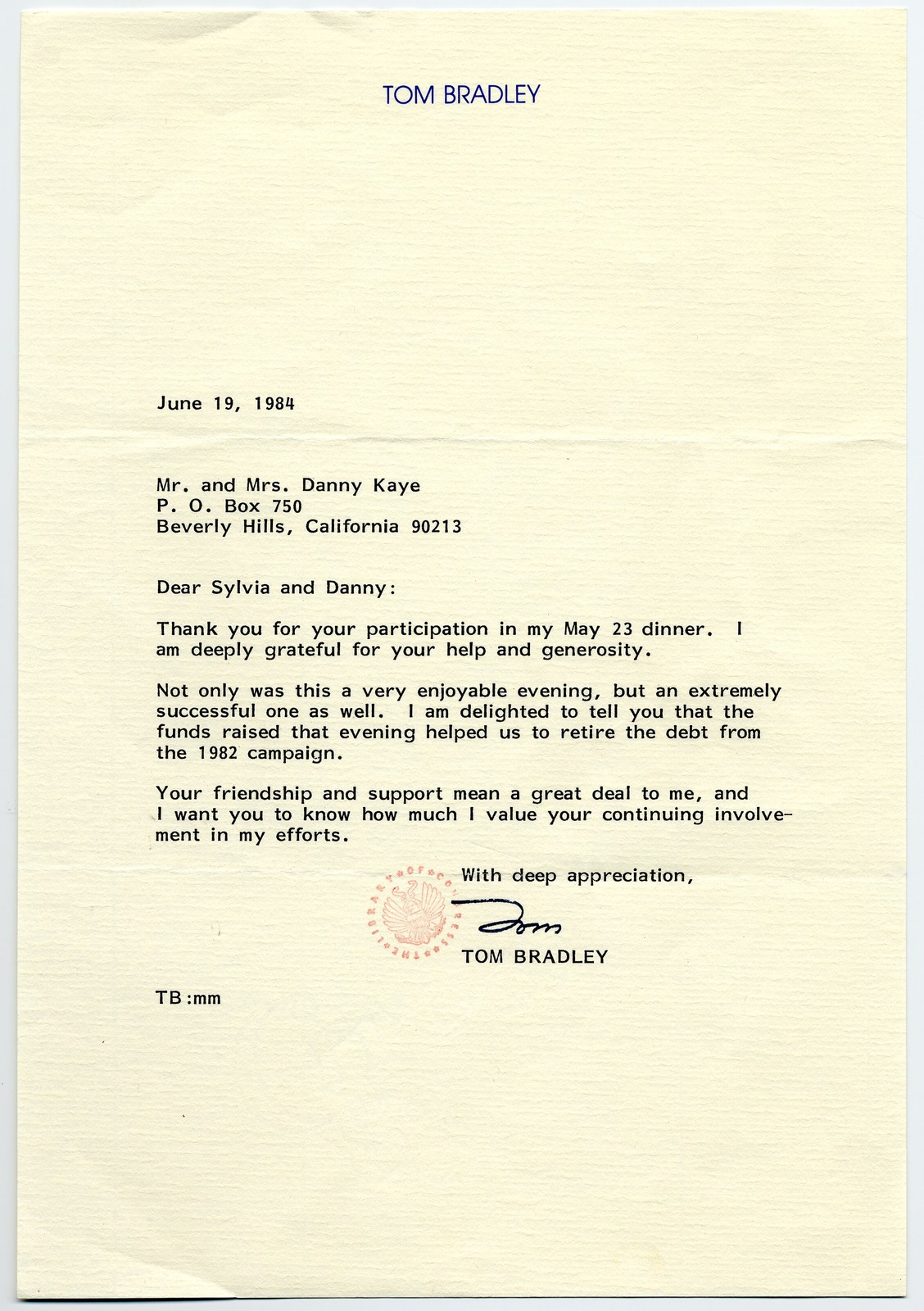 Tom Bradley, [Mayor of Los Angeles, 1973-1993], to Mr. and Mrs. Danny Kaye, June 19, 1984