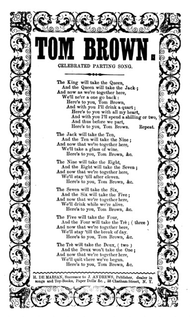 Tom Brown. Celebrated parting song. H. De Marsan, Publisher, 38 Chatham Street, N. Y