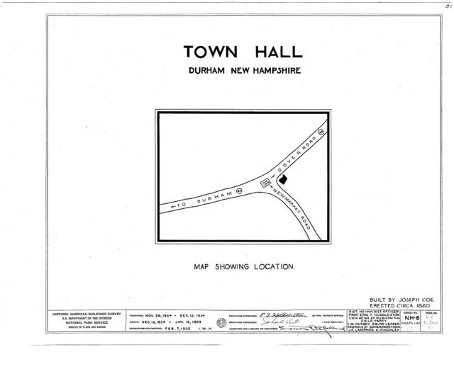 Town Hall, Newmarket & Dover Roads, Durham, Strafford County, NH