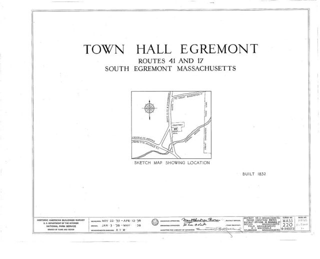 Town Hall, State Routes 41 & 17, South Egremont, Berkshire County, MA