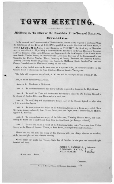 Town meeting. Middlesex ss. To either of the constables of the Town of Reading. Greeting: In the name of the Commonwealth of Massachusetts, you are hereby required to notify and warn the inhabitants of the Town of Reading, qualified to vote in e