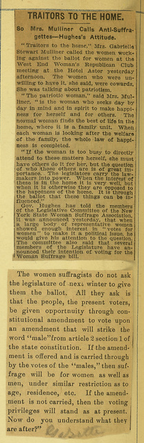'Traitors to the Home' and 'The Women suffragists do not ask'
