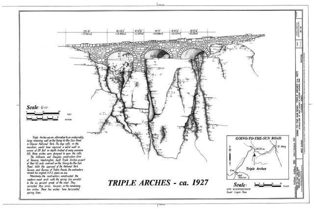 Triple Arches, Spanning rift on Pollock Mountain at Going-to-the-Sun Road, West Glacier, Flathead County, MT