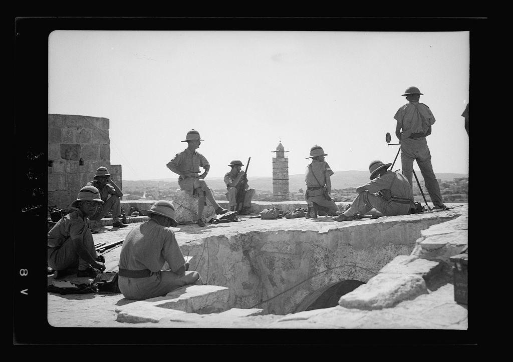 Troops On Tower Of David Showing Heliograph In Use Minaret