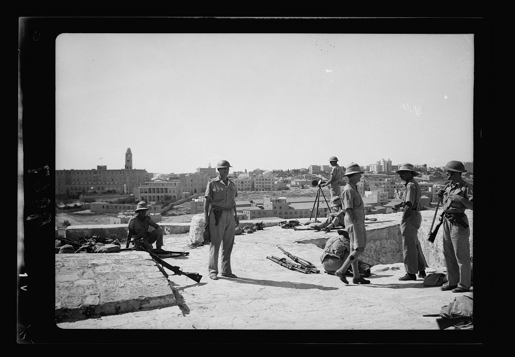 Troops On Tower Of David Troops Close Up Showing Heliograph