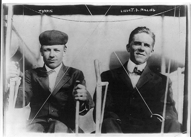 Turpin and Lt. T.D. Milling at plane controls