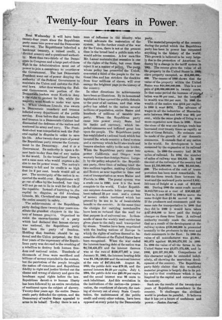 Twenty-four years in power [Reprint from the Boston Journal regarding the grown of the Republican party] [n. d.].