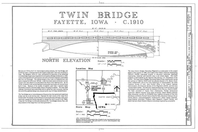 Twin Bridge, Spanning Little Volga River in Twin Bridge Park, Fayette, Fayette County, IA