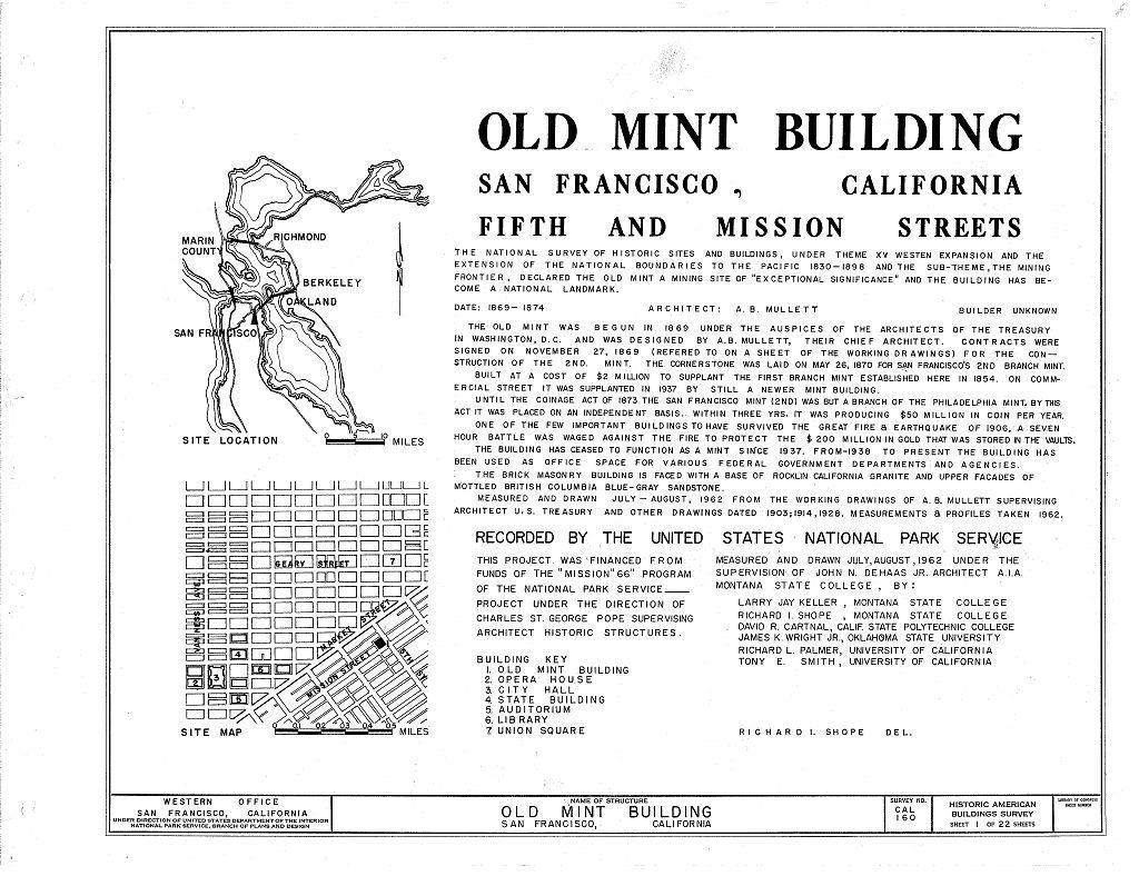 U. S. Branch Mint, Mission & Fifth Streets, San Francisco, San Francisco County, CA