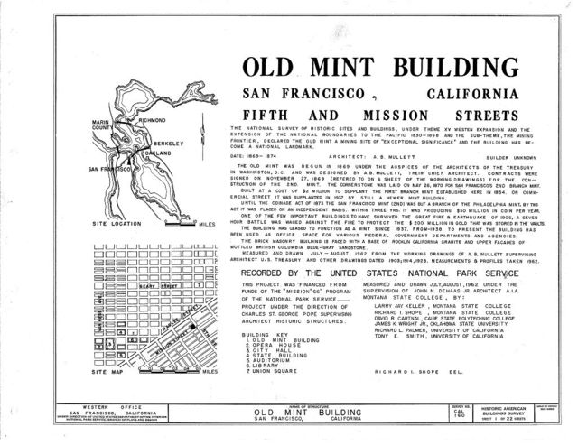 U. S. Branch Mint, Mission & Fifth Streets, San Francisco, San Francisco County, CA