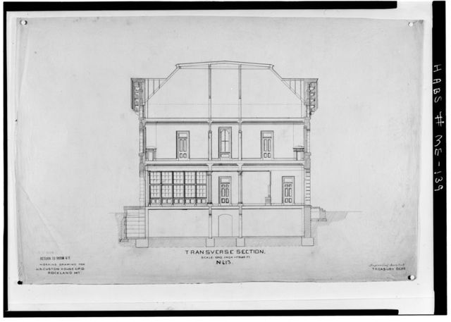 U. S. Customhouse & Post Office Building (Old), 17 School Street, Rockland, Knox County, ME