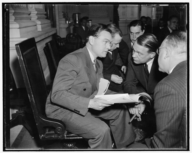 UAWU head quizzed by Rep. Dies. Washington, D.C., Dec. 1. Homer Martin, left, President of the Automobile Workers Union, as he was quizzed today by Rep. Martin Dies, Chairman of the House Committee Investigating Un-American Activities. Martin told the Committee that communists are active in both the CIO and A.F. of L.