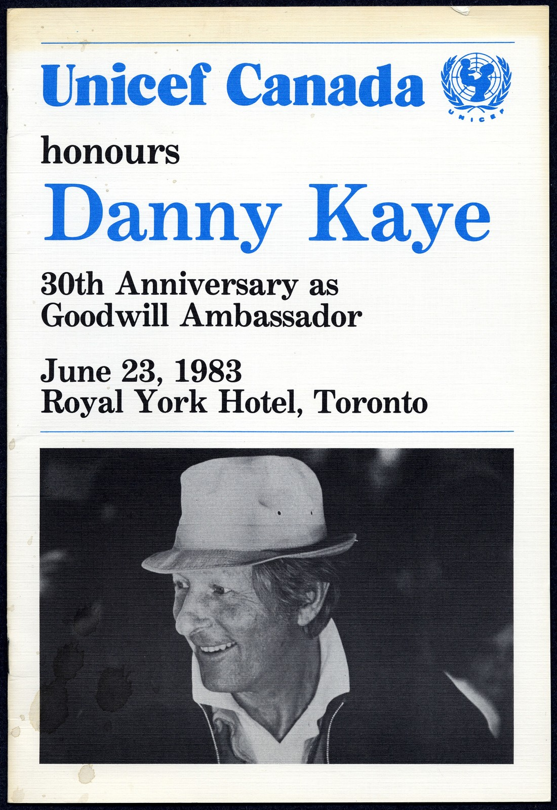 UNICEF Canada honours Danny Kaye, 30th Anniversary as Goodwill Ambassador, June 23, 1983
