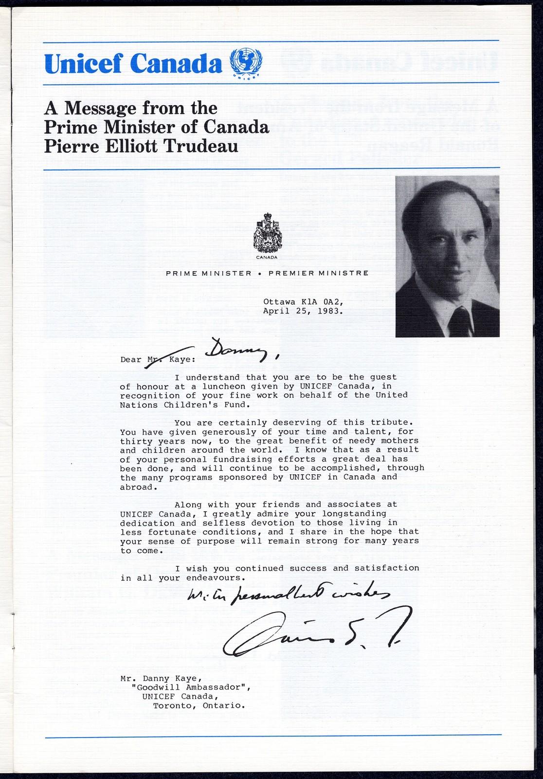 UNICEF Canada honours Danny Kaye, 30th Anniversary as Goodwill Ambassador, June 23, 1983