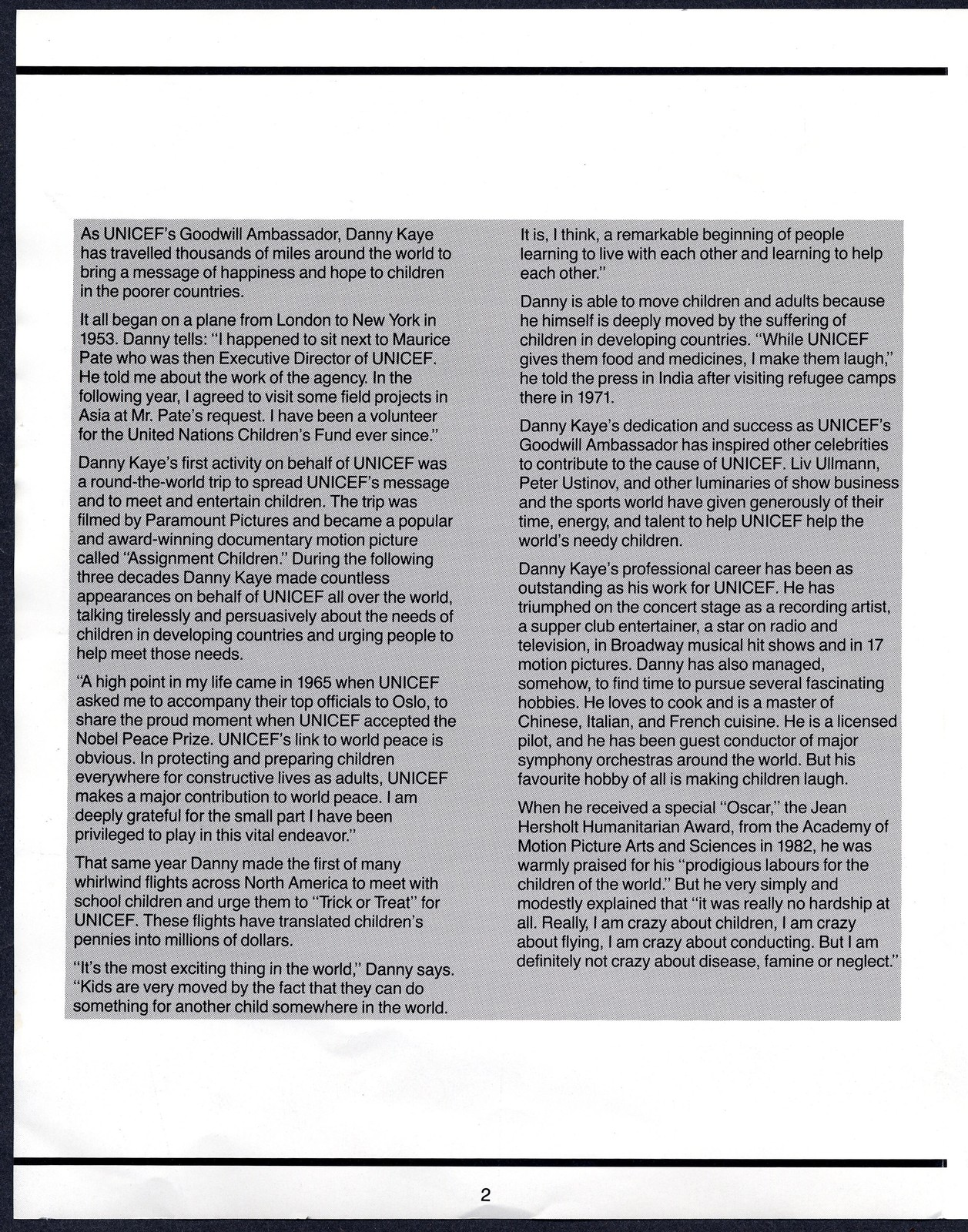 UNICEF Salutes Danny Kaye, May 10?, 1983