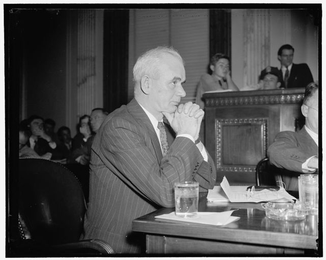 """Union official denies force was used in persuading steel workers to join. Washington, D.C., July 22. Testifying before the Senate Civil Liberties Committee today, Philip Murray, Chairman of the Steel Workers Organizing Committee, declared that he knew of """"no single instance"""" in which SWOC agents used force in persuading steel workers to join the organization. He said the SWOC had encountered its worst difficulties among workers of the Republic Steel Corp, 7/22/38"""