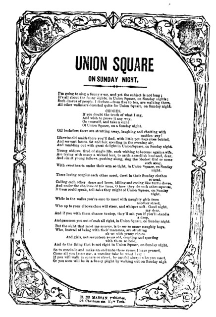Union Square on Sunday night. H. De Marsan, Publisher, 54 Chatham Street, N. Y