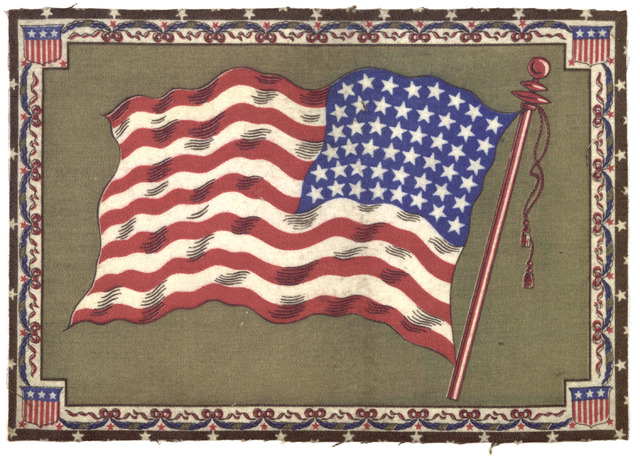 United States flag. [Printed in colors on felt].
