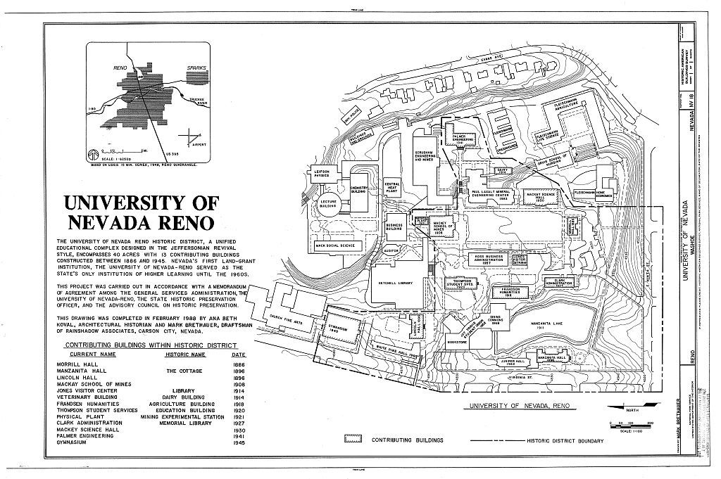 University of Nevada (Site Plan), Evans, Virginia & Ninth Street, Reno, Washoe County, NV