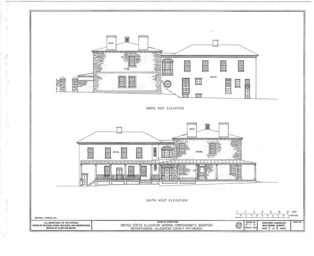 U.S. Allegheny Arsenal, Commandants' Quarters, Fortieth Street, Pittsburgh, Allegheny County, PA