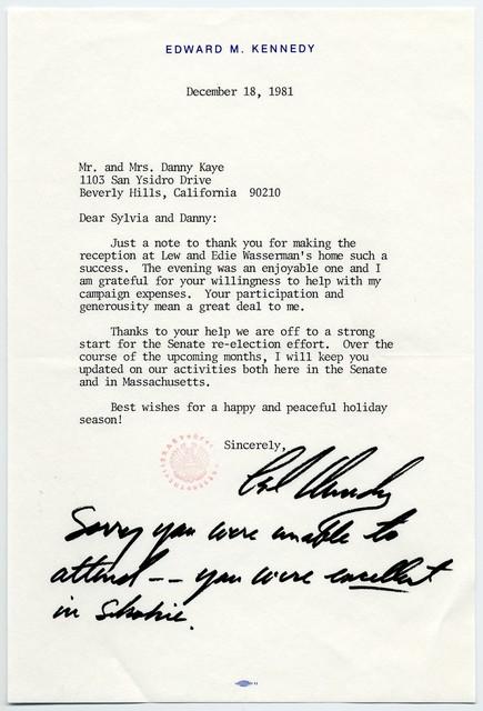 [ U.S. Senator] Edward M. Kennedy to Sylvia and Danny Kaye, December 18, 1981