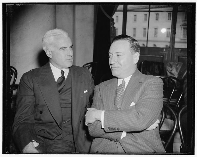 U.S. Steel heads listen to testimony at monopoly committee. Washington, D.C., Nov. 6. Edward R. Stettinius, Chairman of the Board, U.S. Steel, and Benjamin F. Fairless, president of the corporation, listen to testimony before the National Monopoly Committee today